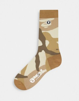 Бежевые носки с логотипом AAPE By A Bathing Ape-Светло-бежевый цвет APE®