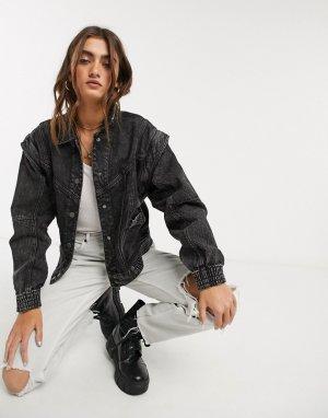 Черная джинсовая куртка с эффектом кислотной стирки -Черный Bershka