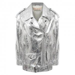 Кожаная куртка Marni. Цвет: серебряный