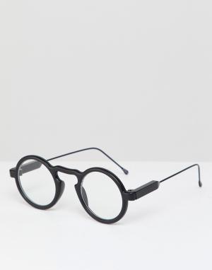 Круглые очки в черной оправе с прозрачными стеклами Aurora Spitfire. Цвет: черный