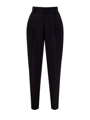 Однотонные зауженные брюки из гладкого фризотина REDVALENTINO. Цвет: черный