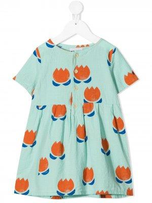 Платье из органического хлопка с цветочным принтом Bobo Choses. Цвет: синий
