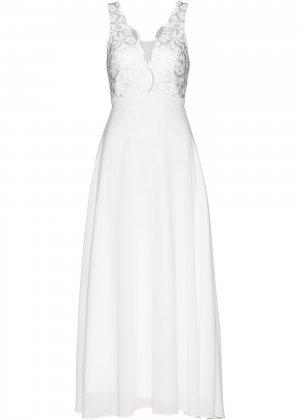 Праздничное платье из шифона bonprix. Цвет: белый