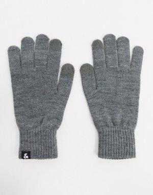 Серые вязаные перчатки -Серый Jack & Jones