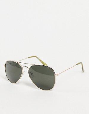Золотистые солнцезащитные очки-авиаторы в стиле унисекс Chris-Золотистый AJ Morgan