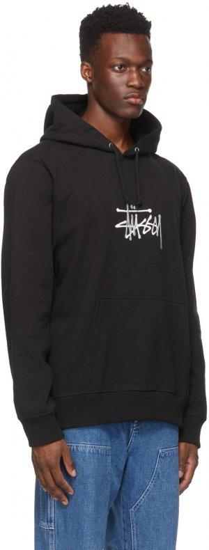 Black Embroidered Logo Hoodie Stüssy. Цвет: black