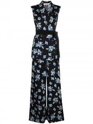 Комбинезон с запахом и цветочным принтом DVF Diane von Furstenberg. Цвет: черный