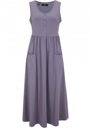 Платье макси с карманами bonprix. Цвет: лиловый