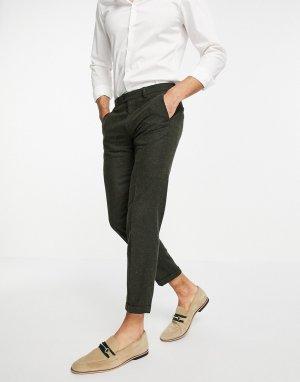 Костюмные брюки цвета хаки в крапинку Premium-Зеленый цвет Jack & Jones