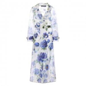 Шелковый тренч Dolce & Gabbana. Цвет: голубой
