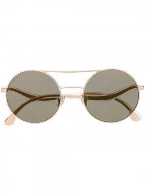 Солнцезащитные очки в круглой оправе Jimmy Choo Eyewear. Цвет: золотистый