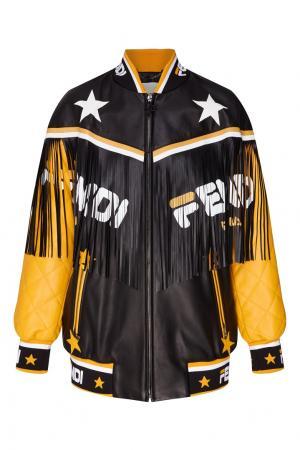 Контрастная кожаная куртка с бахромой Fendi. Цвет: multicolor