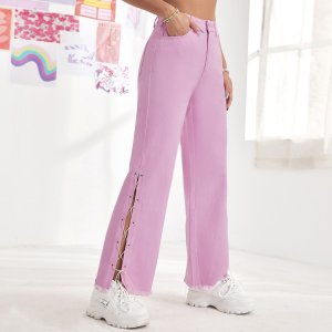 Широкие джинсы на шнуровке SHEIN. Цвет: розовые