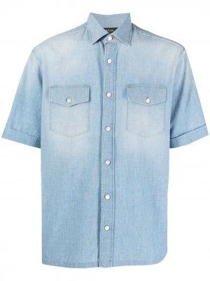 Джинсовая рубашка из вареного денима Z Zegna. Цвет: синий