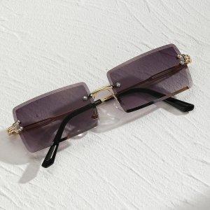 Мужские солнечные очки без оправы SHEIN. Цвет: пурпурный