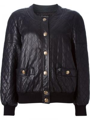 Куртка-бомбер со стеганым эффектом Chanel Vintage. Цвет: чёрный