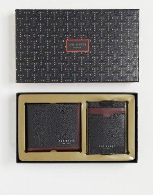 Подарочный набор из бумажника и визитницы черного цвета -Черный цвет Ted Baker
