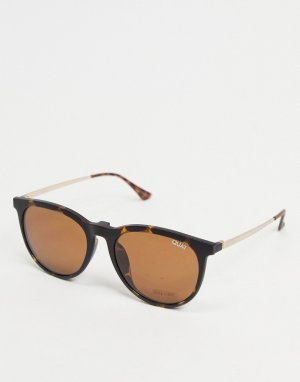 Женские солнцезащитные очки в круглой черепаховой оправе Quay Great Escape Clip On-Коричневый цвет Australia