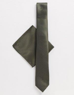 Галстук и платок для пиджака -Зеленый цвет Harry Brown