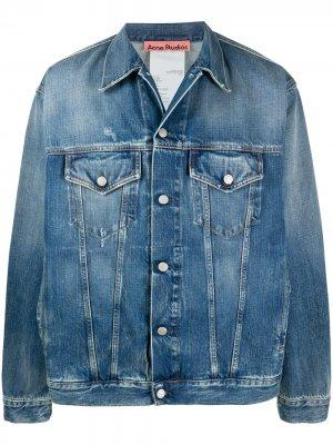 Джинсовая куртка с эффектом потертости Acne Studios. Цвет: синий