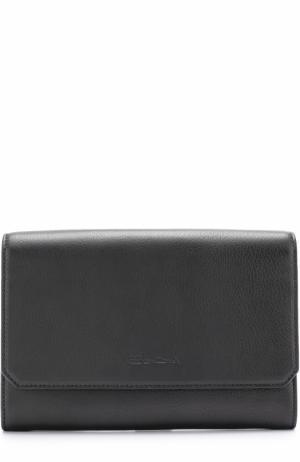 Кожаный футляр для документов с клапаном Santoni. Цвет: черный