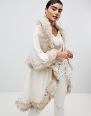 Пончо с добавлением шерсти и отделкой искусственным мехом Luxurious-Кремовый Jayley