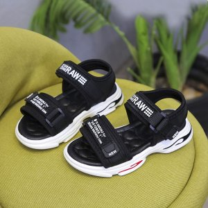 Спортивные сандалии с текстовым принтом для мальчиков SHEIN. Цвет: чёрный