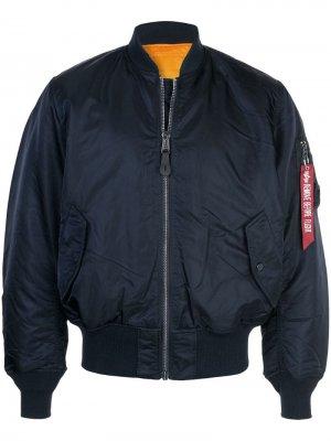 Куртка-бомбер оверсайз Alpha Industries. Цвет: синий
