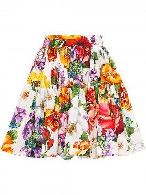 Юбка мини с цветочным принтом Dolce & Gabbana. Цвет: красный