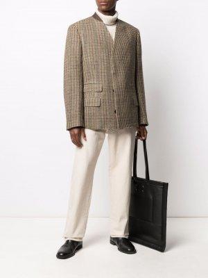 Однобортный твидовый пиджак Maison Margiela. Цвет: нейтральные цвета