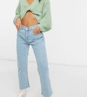 Укороченные расклешенные джинсы из светлого выбеленного эластичного денима с завышенной талией ASOS DESIGN Petite-Голубой Petite