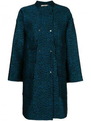 Однобортное пальто с леопардовым принтом Odeeh. Цвет: синий