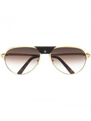 Солнцезащитные очки Santos de Cartier Eyewear. Цвет: золотистый