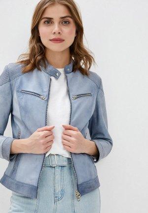 Куртка кожаная Ne.Ra Collezioni. Цвет: голубой