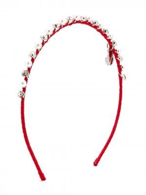 Ободок с искусственным жемчугом Monnalisa. Цвет: красный