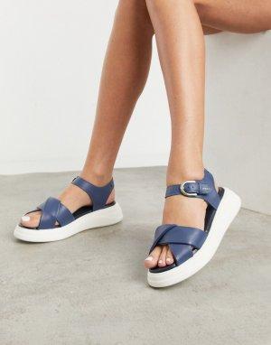 Темно-синие кожаные сандалии на массивной подошве nora-Темно-синий Fiorelli