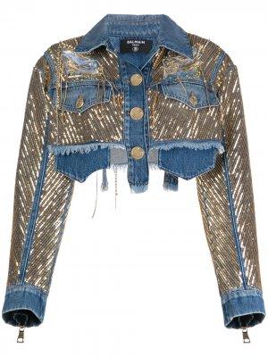 Джинсовая куртка с пайетками Balmain. Цвет: синий