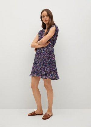 Короткое платье с плиссировкой - Mina Mango. Цвет: синий