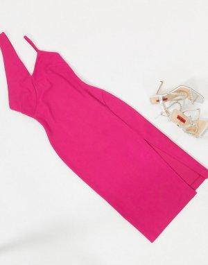 Розовое платье миди с вырезом -Розовый цвет AQAQ