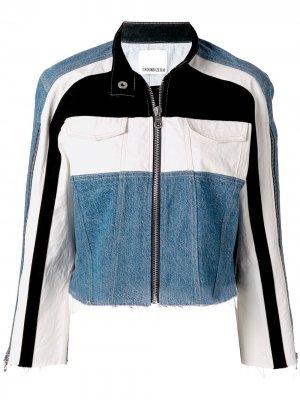 Джинсовая куртка с контрастной вставкой Ground Zero. Цвет: синий