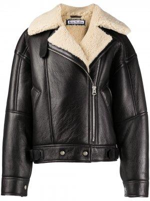 Куртка из телячьей кожи с овчиной Acne Studios. Цвет: коричневый