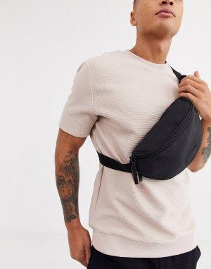Черная сумка-кошелек на пояс с камуфляжным принтом -Черный Consigned