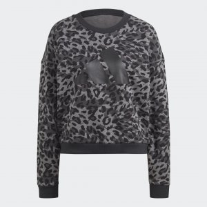 Джемпер Sportswear Leopard-Print adidas. Цвет: серый