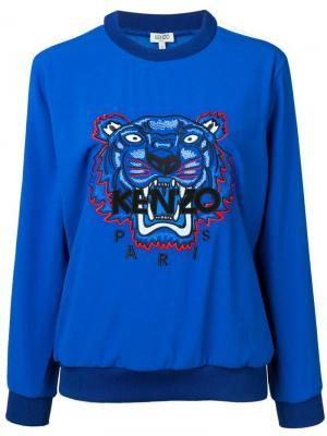Классический свитер с вышивкой тигра Kenzo. Цвет: синий