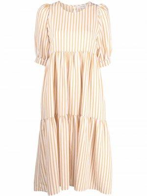 Полосатое платье миди с объемными рукавами Chinti and Parker. Цвет: нейтральные цвета