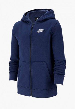Толстовка Nike SPORTSWEAR BIG KIDS (BOYS) FULL-ZIP HOODIE. Цвет: синий