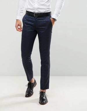 Жаккардовые брюки зауженного кроя под смокинг Farah-Темно-синий Farah Smart