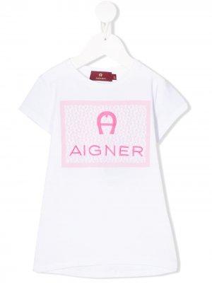 Футболка с вышитым логотипом Aigner Kids. Цвет: белый