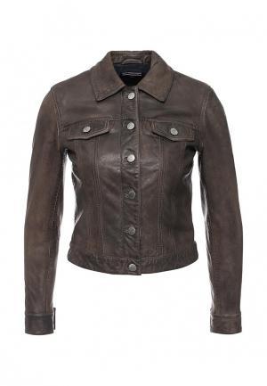 Куртка кожаная Tommy Hilfiger. Цвет: коричневый
