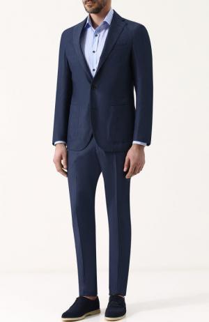 Костюм из смеси хлопка и льна с пиджаком на двух пуговицах Loro Piana. Цвет: синий